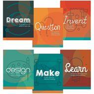 Maker Space Etiquette Mini Post Set of 6