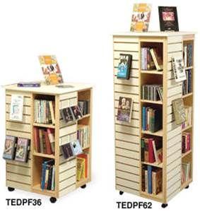Book Display Furniture - Mobile 4 side Slatwall Display Tower