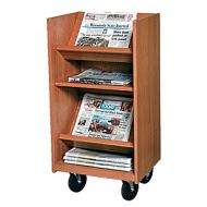 Laminate Wood Narrow Newspaper Trolley 16PMT323-3551NP