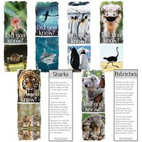Animals Fun Facts Informative Bookmarks, 200/pack