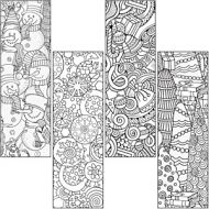 Coloring Activity Book Mark Pack-Winter Design