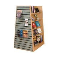 Open Top Laminate Wood Book Shelves With Slatwall Panel