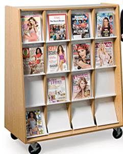 Mobile 16 Compartments Magazine Rack