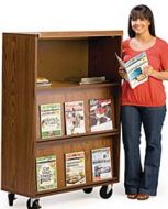 Mobile Magazine Display Rack with Cabinet. 13PMT524-7109